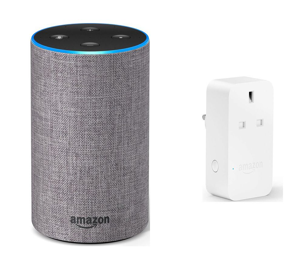 Image of AMAZON Echo & Smart Plug Bundle - Heather Grey Fabric, Grey