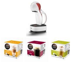DOLCE GUSTO by De'Longhi Colors EDG355.W1 Coffee Machine & Pod Bundle - Macchiato, Americano & Cappuccino