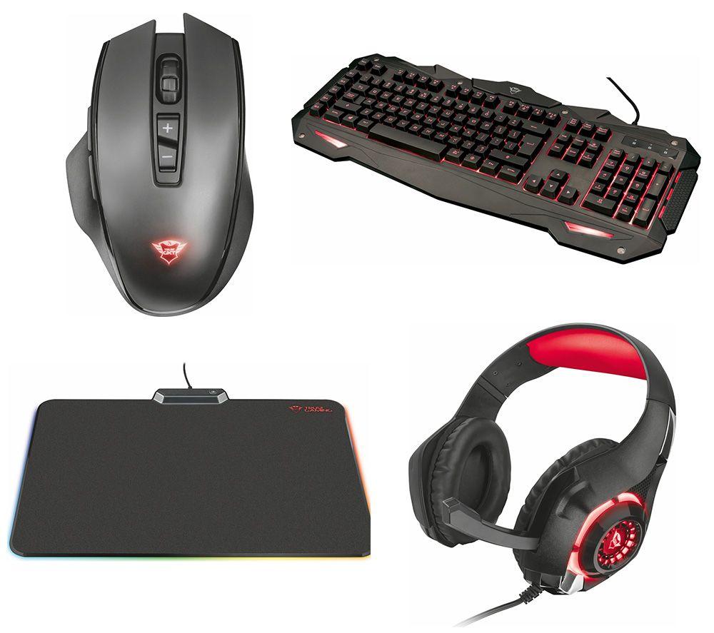 TRUST 840 Myra Gaming Keyboard, 140 Manx Wireless Gaming Mouse, 313 Nero Gaming Headset & RGB Mouse Mat Bundle