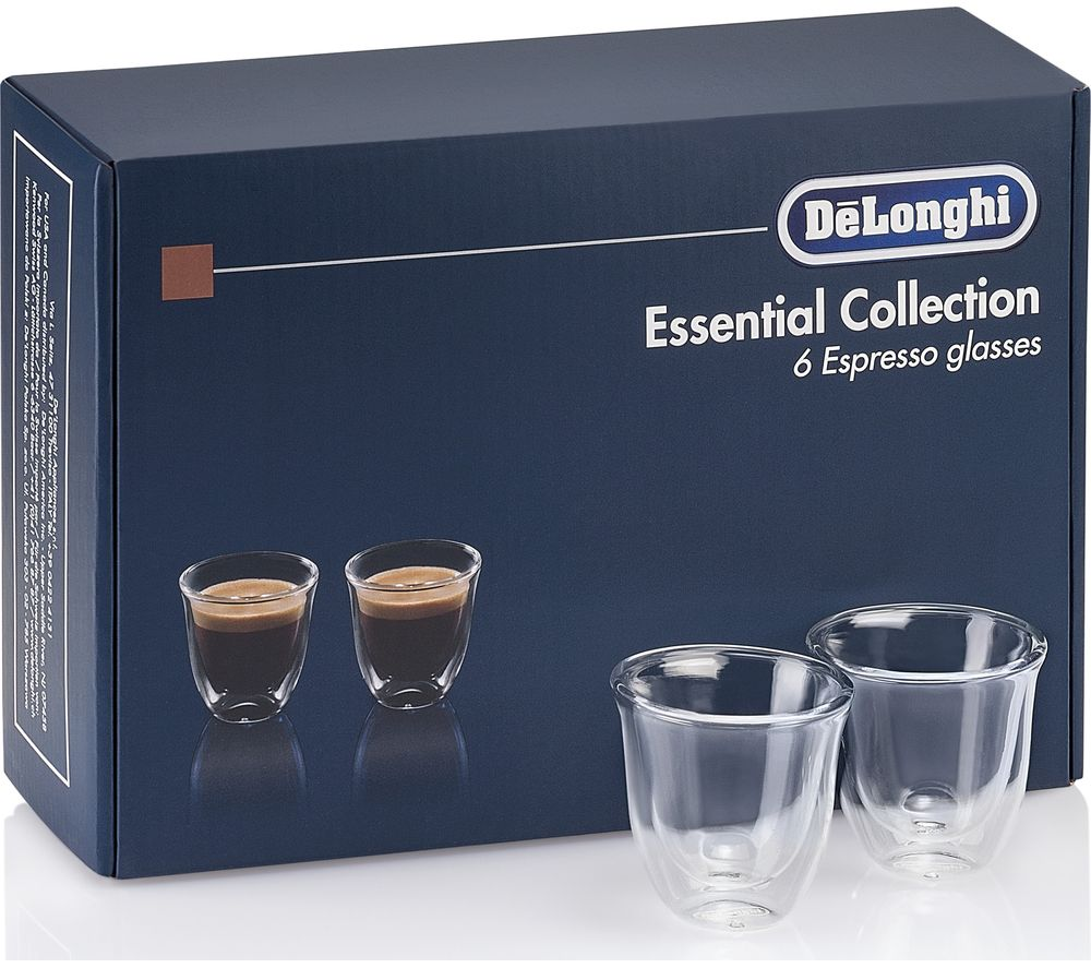 DELONGHI Essentials Collection DLKC300 Espresso Glasses - Pack of 6