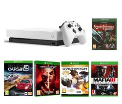 MICROSOFT White Xbox One X, Tekken 7, Project Cars 2, Killer Instinct Combo Breaker Pack, Mafia III Deluxe Edition & Overwatch Bundle