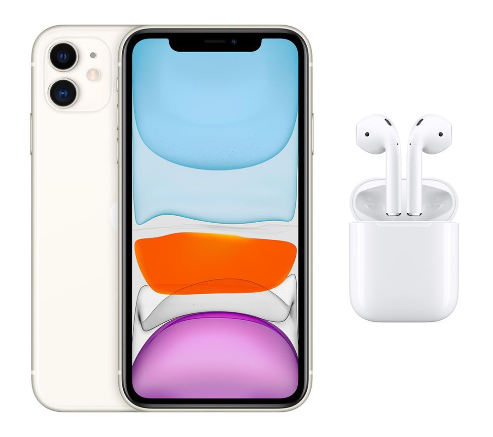 APPLE iPhone 11 & AirPods with Charging Case (2nd generation) Bundle - 128 GB, White, White