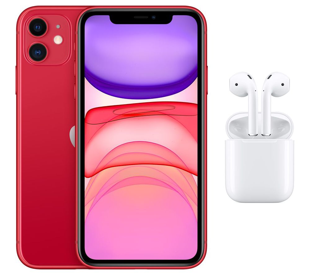 APPLE iPhone 11 & AirPods with Charging Case (2nd generation) Bundle - 128 GB, Red, Red