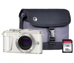 PEN E-PL9 Mirrorless Camera with 32 GB SD Card & Case - White, Body Only