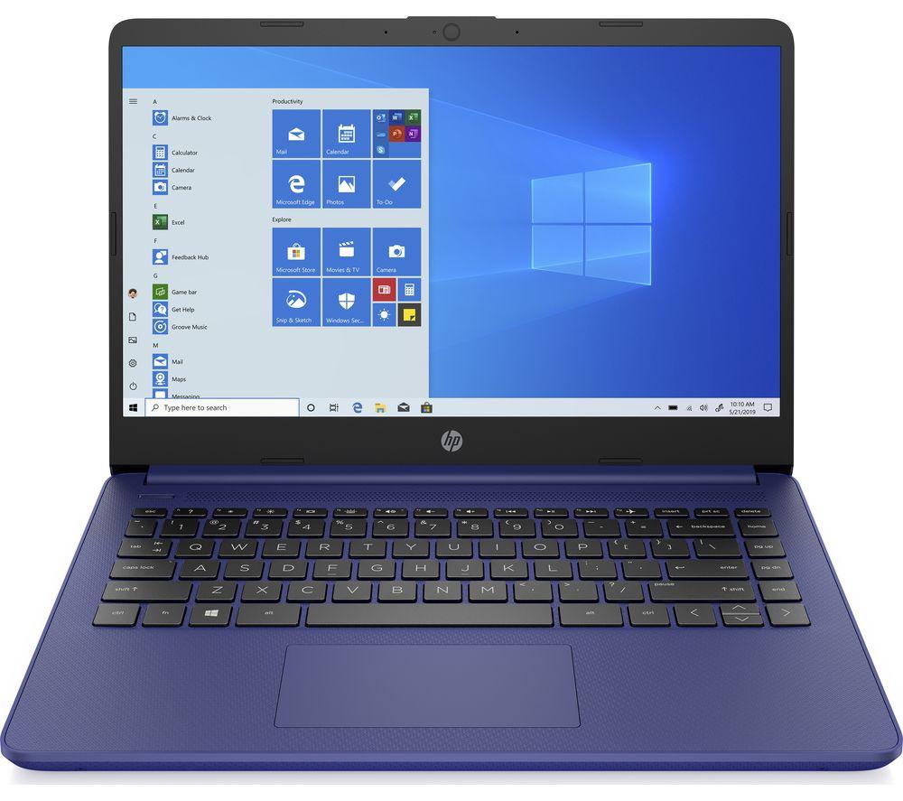 """hp stream 14s-fq0509sa 14"""" laptop - amd 3020e, 64 gb emmc, blue, blue"""