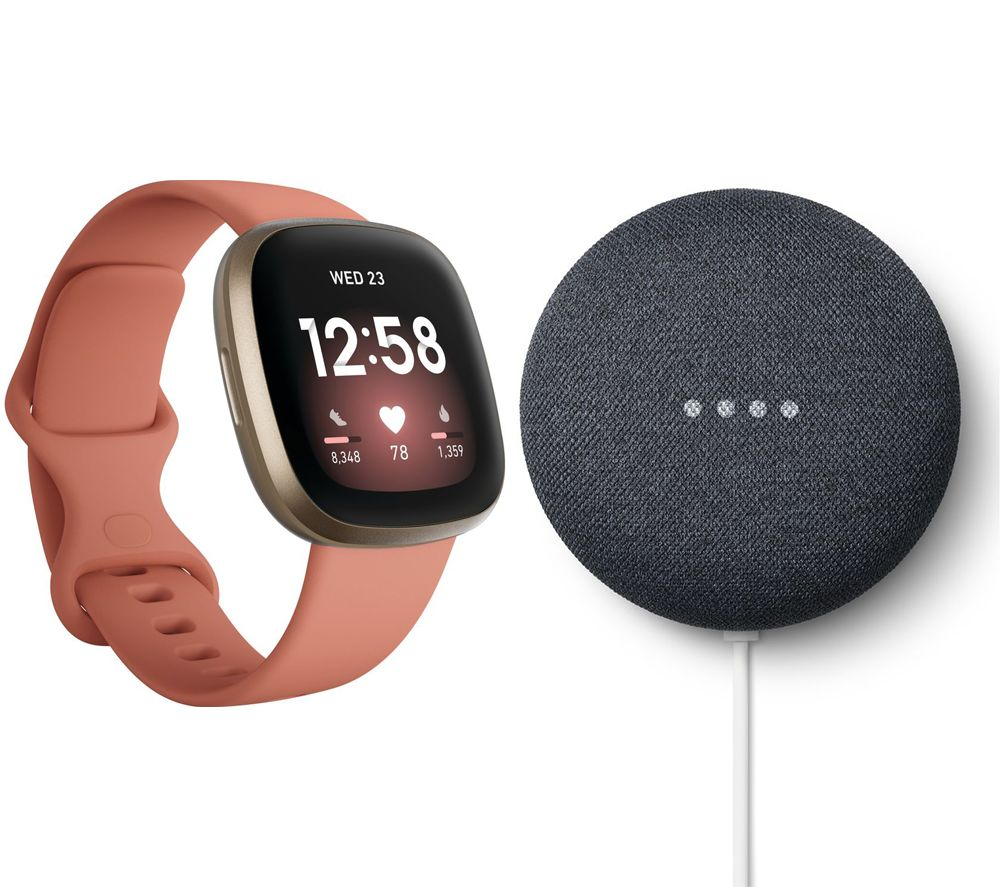 FITBIT Versa 3 & Nest Mini (2nd Gen) Bundle - Pink Clay & Soft Gold & Charcoal