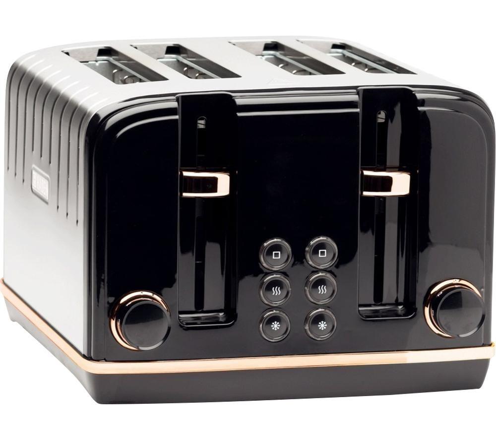 HADEN Salcombe 191168 4-Slice Toaster - Black & Copper, Black