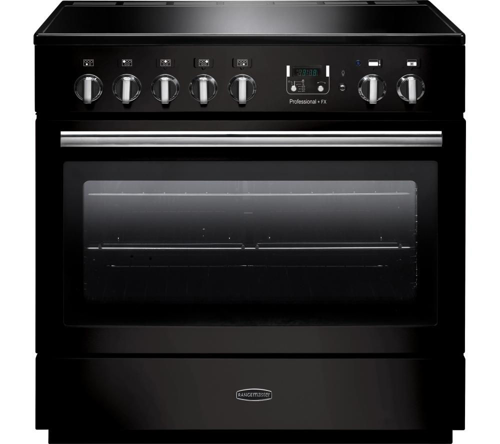 RANGEMASTER Professional+ FX 90 Electric Induction Range Cooker - Gloss Black & Chrome