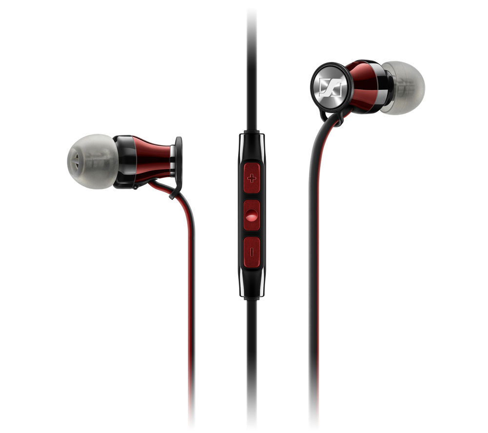 SENNHEISER Momentum 2.0 IEi Headphones - Black & Red + iPhone 7 Lightning to 3.5 mm Headphone Jack Adapter