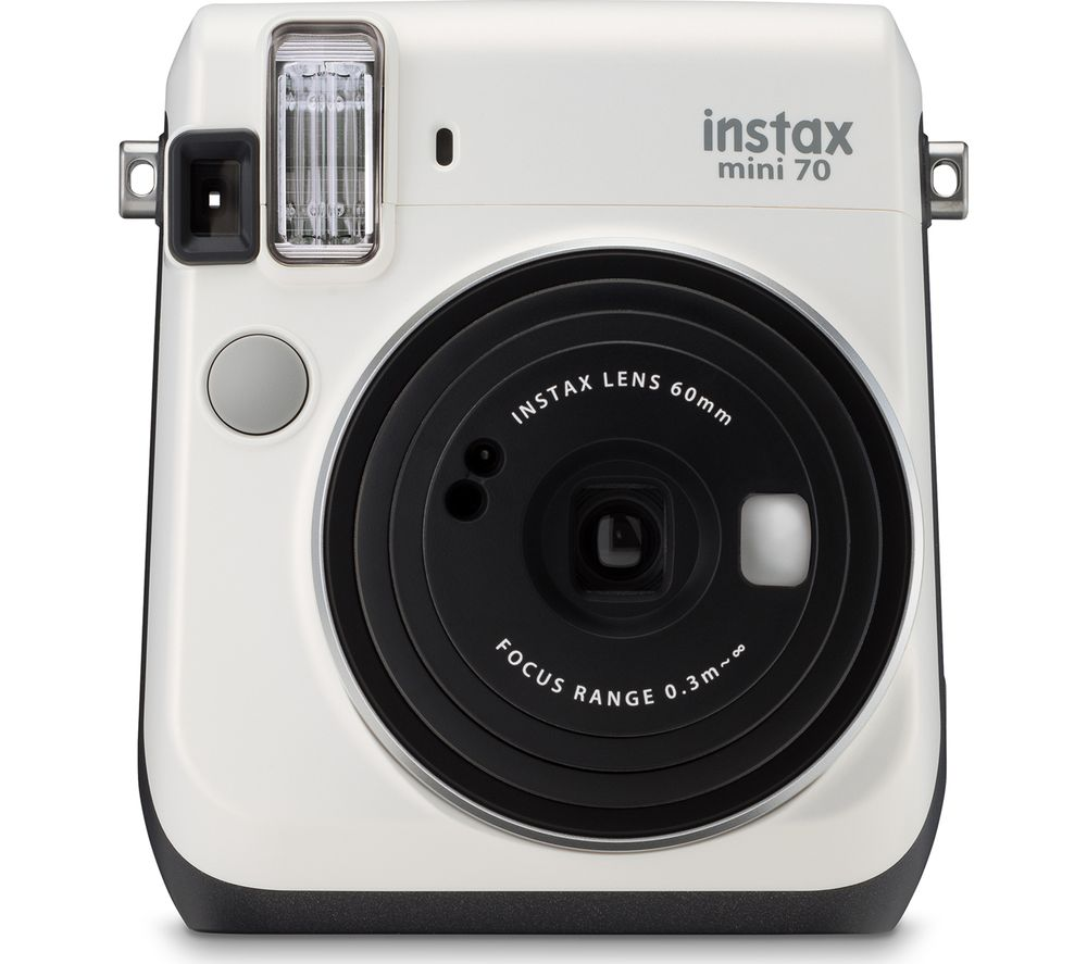 INSTAX Mini 70 Instant Camera - 10 Shots Included, White + Extreme Plus Ultra Performance Class 10 SDHC Memory Card - 32 GB, Twin Pack