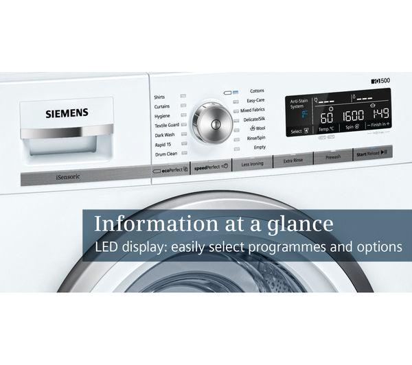 Siemens Iq500 Wm16w590gb Washing Machine White Fast Delivery