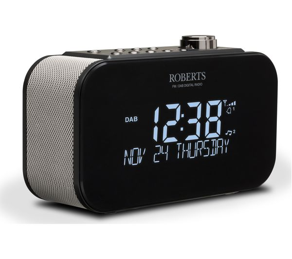 buy roberts ortus 3 dab fm clock radio black free. Black Bedroom Furniture Sets. Home Design Ideas