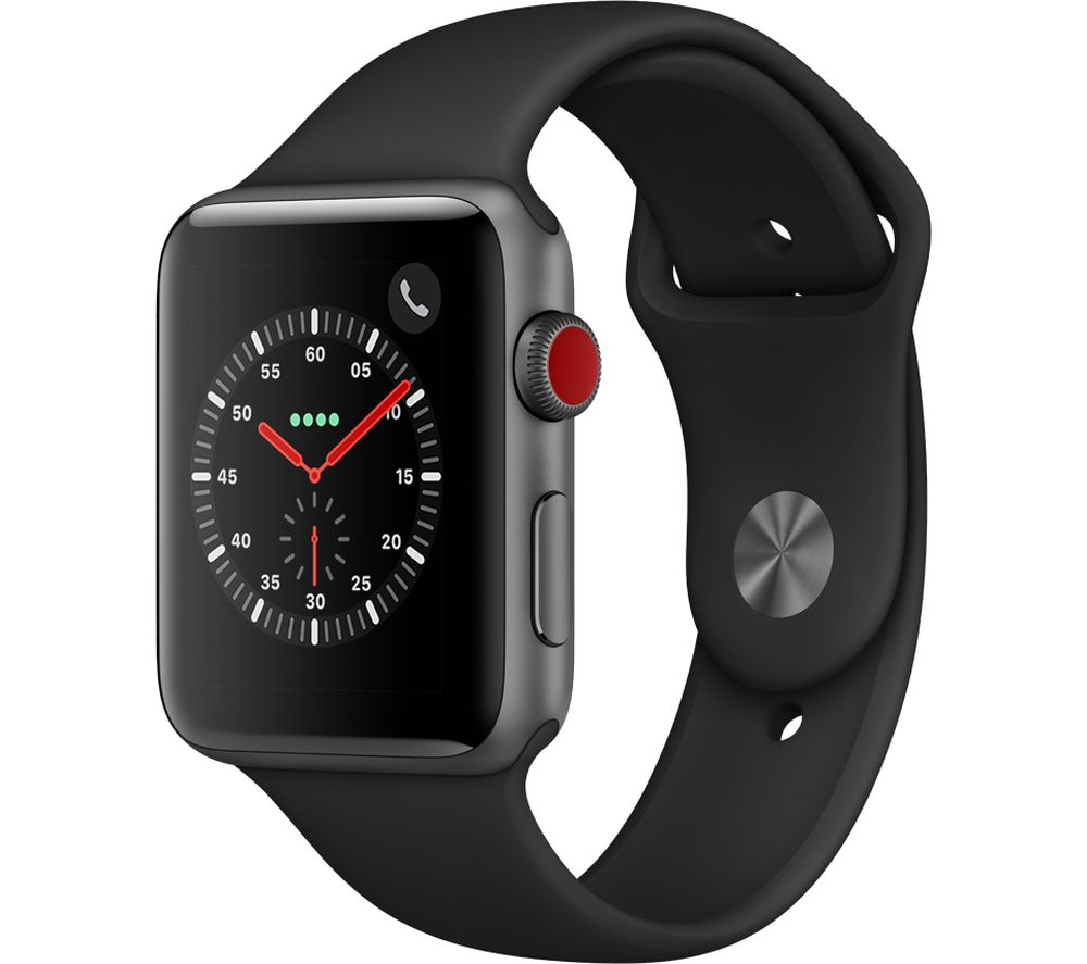 APPLE Watch Series 3 Cellular - Black, 42 mm, Black cheapest retail price
