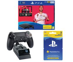 SONY PlayStation 4 with FIFA 20, Twin Docking Station & PlayStation Plus 3 Month Subscription Bundle