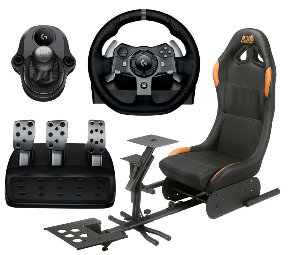 LOGITECH Driving Force G920 Racing Wheel & Pedals, Gaming Chair & Driving Force Shifter Bundle