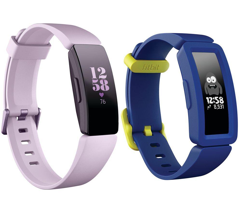FITBIT Inspire HR Fitness Tracker & Ace 2 Kids Fitness Tracker Bundle - Lilac & Blue, Blue