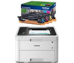 BROTHER HLL3230CDW Wireless Laser Printer & TN243CMYK Toner Cartridges Bundle