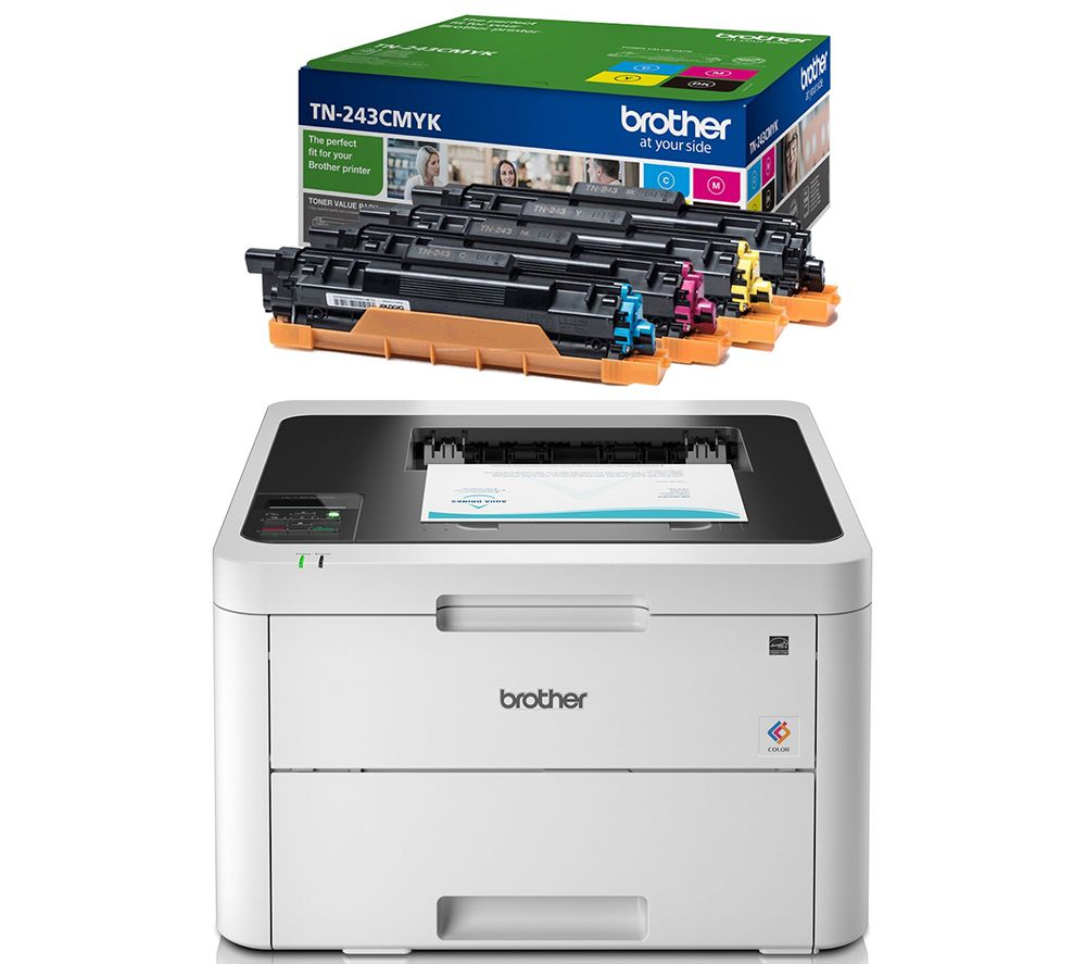 Image of BROTHER HLL3230CDW Wireless Laser Printer & TN243CMYK Toner Cartridges Bundle, Cyan