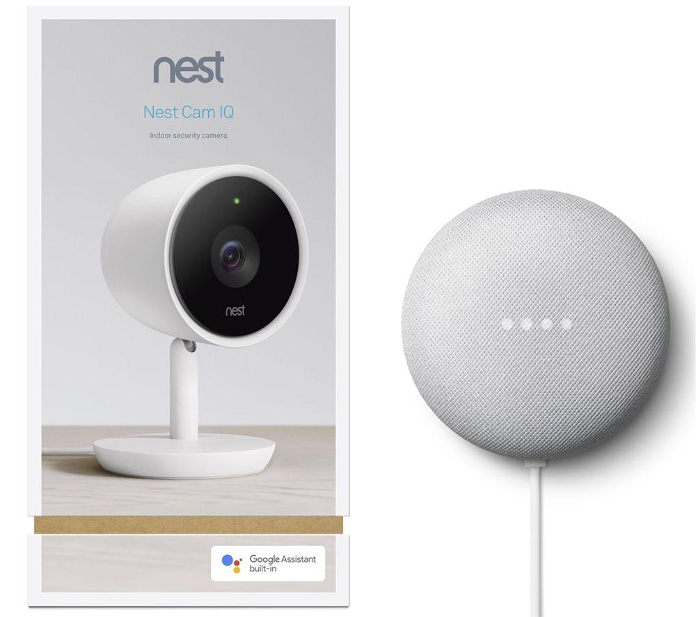 Image of GOOGLE Nest Cam IQ Indoor Security Camera & Chalk Nest Mini (2nd Gen) Bundle, Black