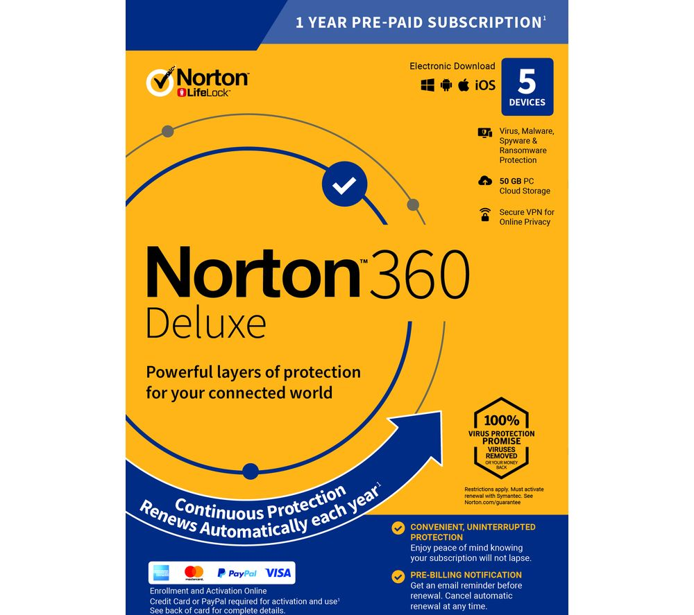 Image of NORTON 360 Deluxe - 1 year for 5 devices (download)