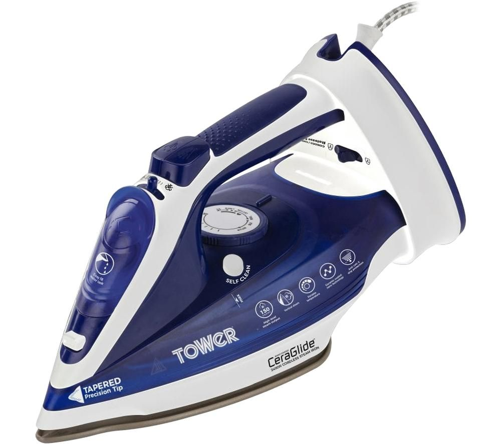 Image of TOWER CeraGlide T22008BLU Cordless Steam Iron - Blue, Blue