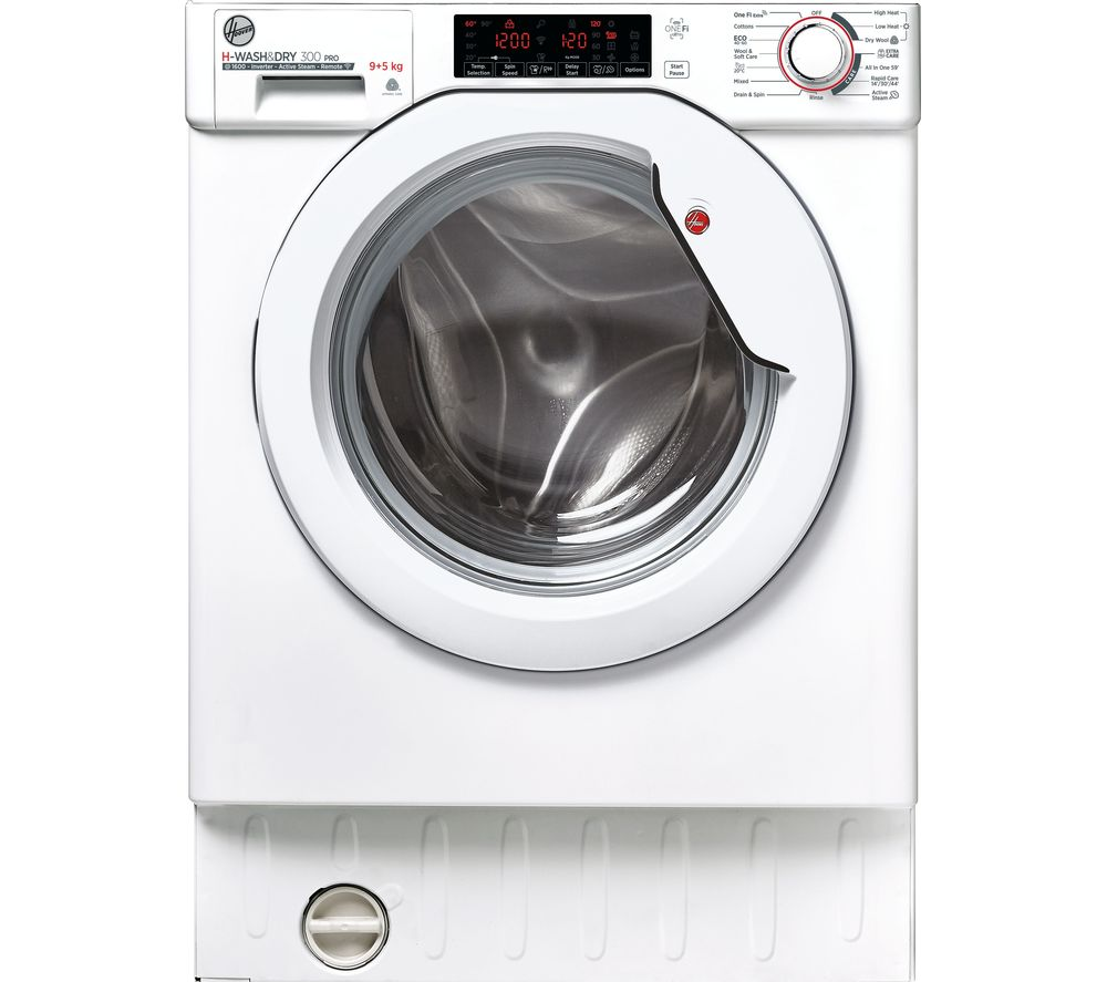 HOOVER H-WASH & DRY 300 Pro HBDOS695TMET WiFi-enabled Integrated 9 kg Washer Dryer - White, White