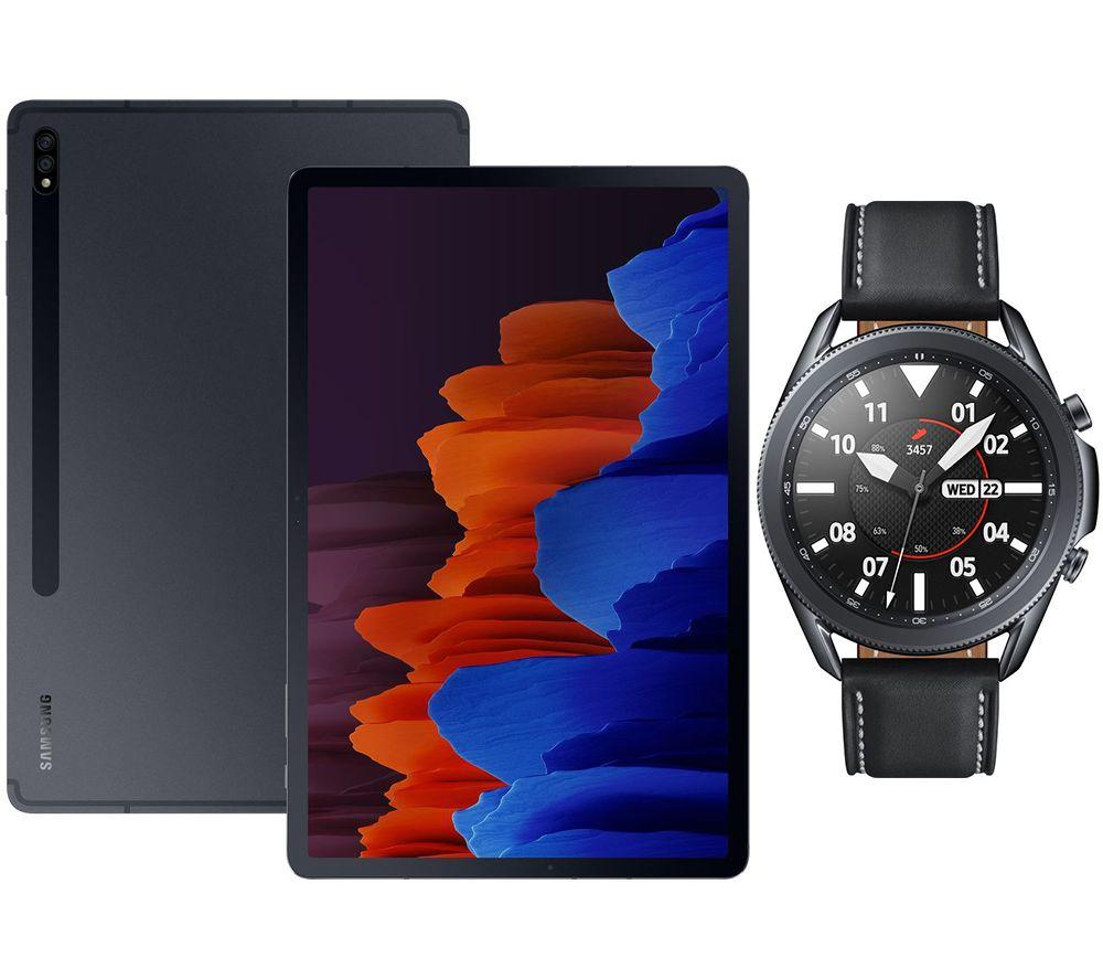 "Image of SAMSUNG Galaxy Tab S7 Plus 12.4"" Tablet & Black Galaxy Watch3 Bundle, Black"
