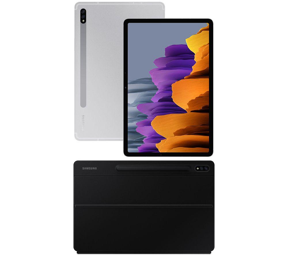 "Image of SAMSUNG Galaxy Tab S7 11"" Tablet & Tab S7 Keyboard Cover Bundle - 128 GB, Mystic Silver & Black, Silver"