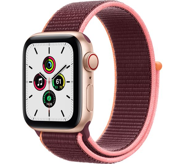APPLE Watch SE Cellular - Gold Aluminium with Plum Sports Loop, 44 mm