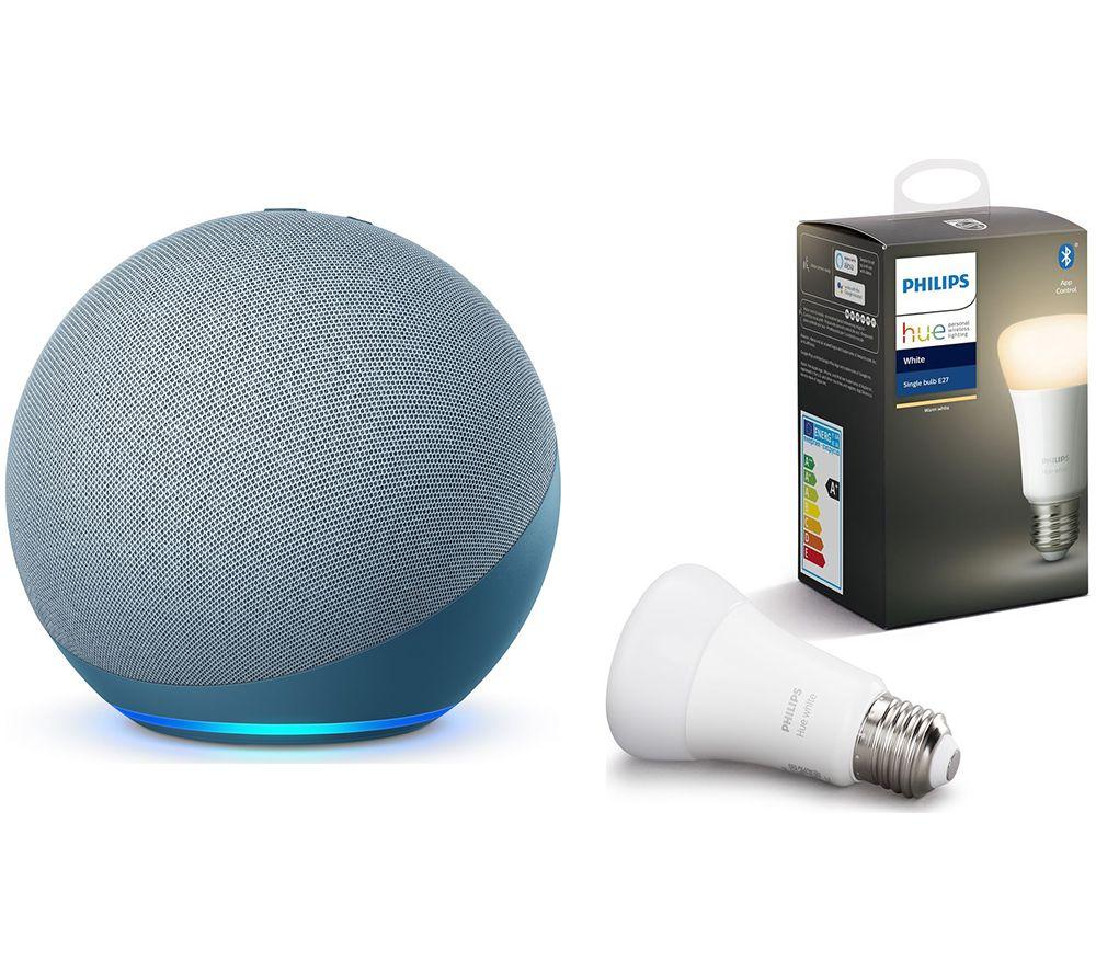 PHILIPS Echo (4th Gen) & E27 White Bluetooth LED Bulb - Twilight Blue