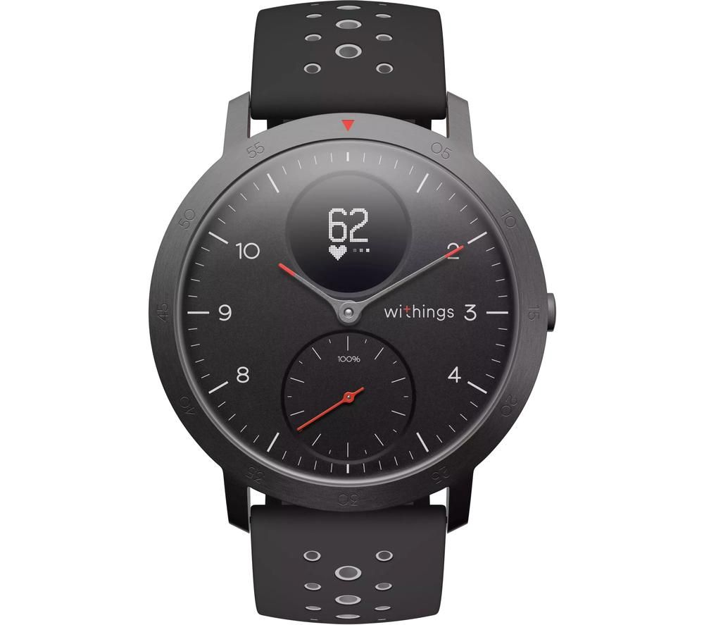 WITHINGS Steel HR Sport Smartwatch - Black & Grey, Silicone Strap, Black