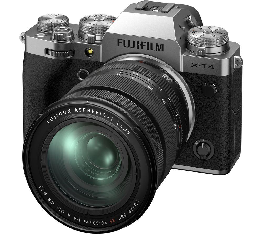 FUJIFILM X-T4 Mirrorless Camera with FUJINON XF 16-80 mm f/4 R OIS WR Lens - Silver