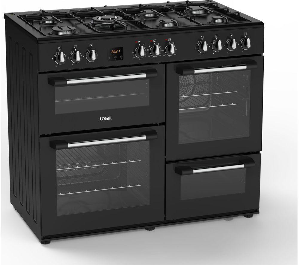 LOGIK LRC100B21 100 cm Dual Fuel Range Cooker - Black, Black