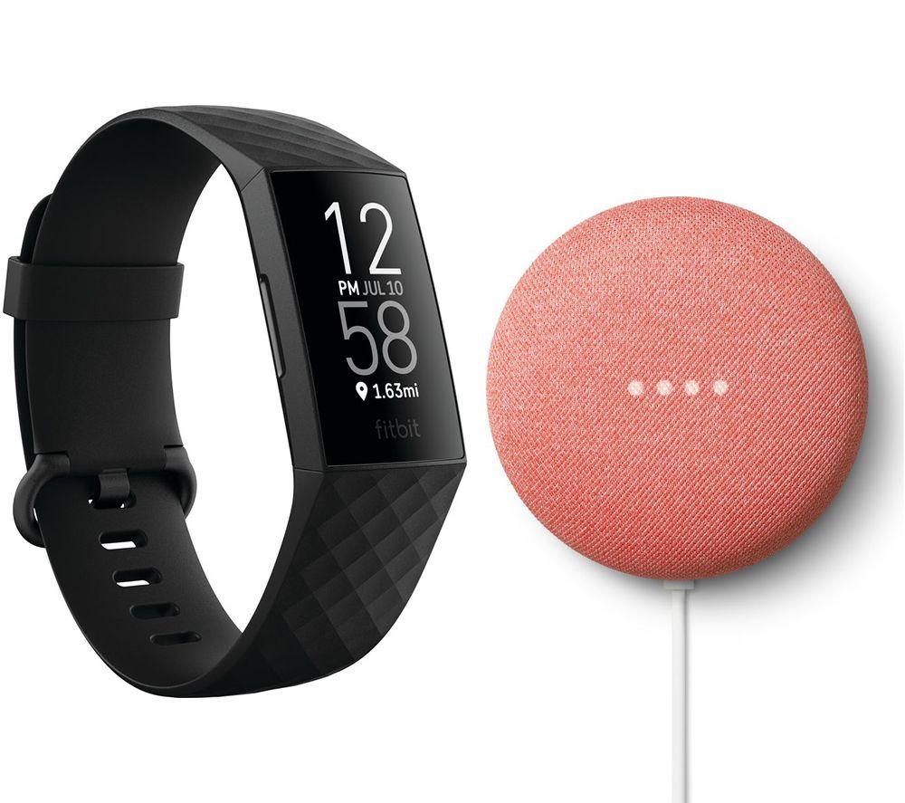 FITBIT Charge 4 Fitness Tracker & Google Nest Mini (2nd Gen) Bundle - Black & Coral, Black