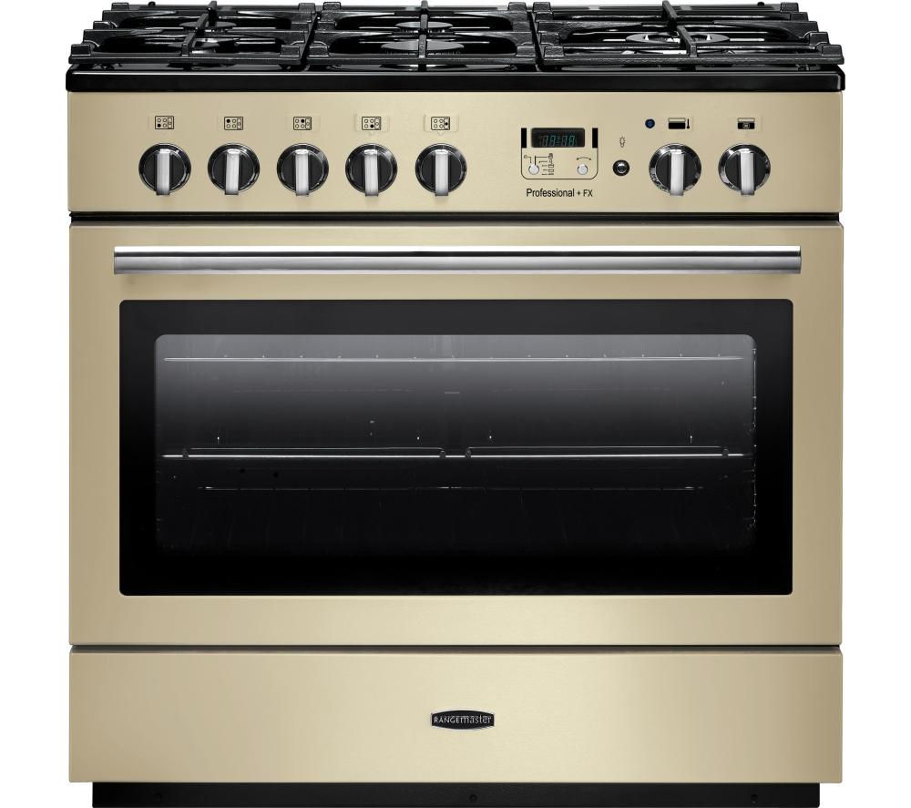 RANGEMASTER Professional+ FX 90 Dual Fuel Range Cooker - Cream & Chrome