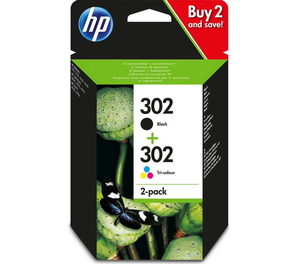 HP Combo 302 Tri-colour & Black Ink Cartridges - Multipack + 100 x 150 mm Photo Paper - 30 Sheets