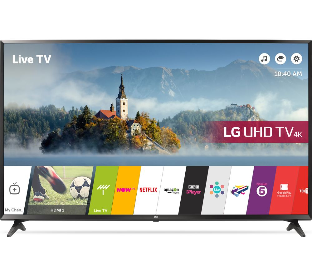 "LG 60UJ630V 60"" Smart 4K Ultra HD HDR LED TV + S1HDM315 HDMI Cable with Ethernet - 1 m"