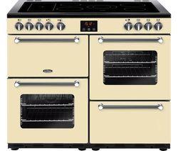 BELLING Kensington 100E Electric Ceramic Range Cooker - Cream & Chrome Best Price, Cheapest Prices
