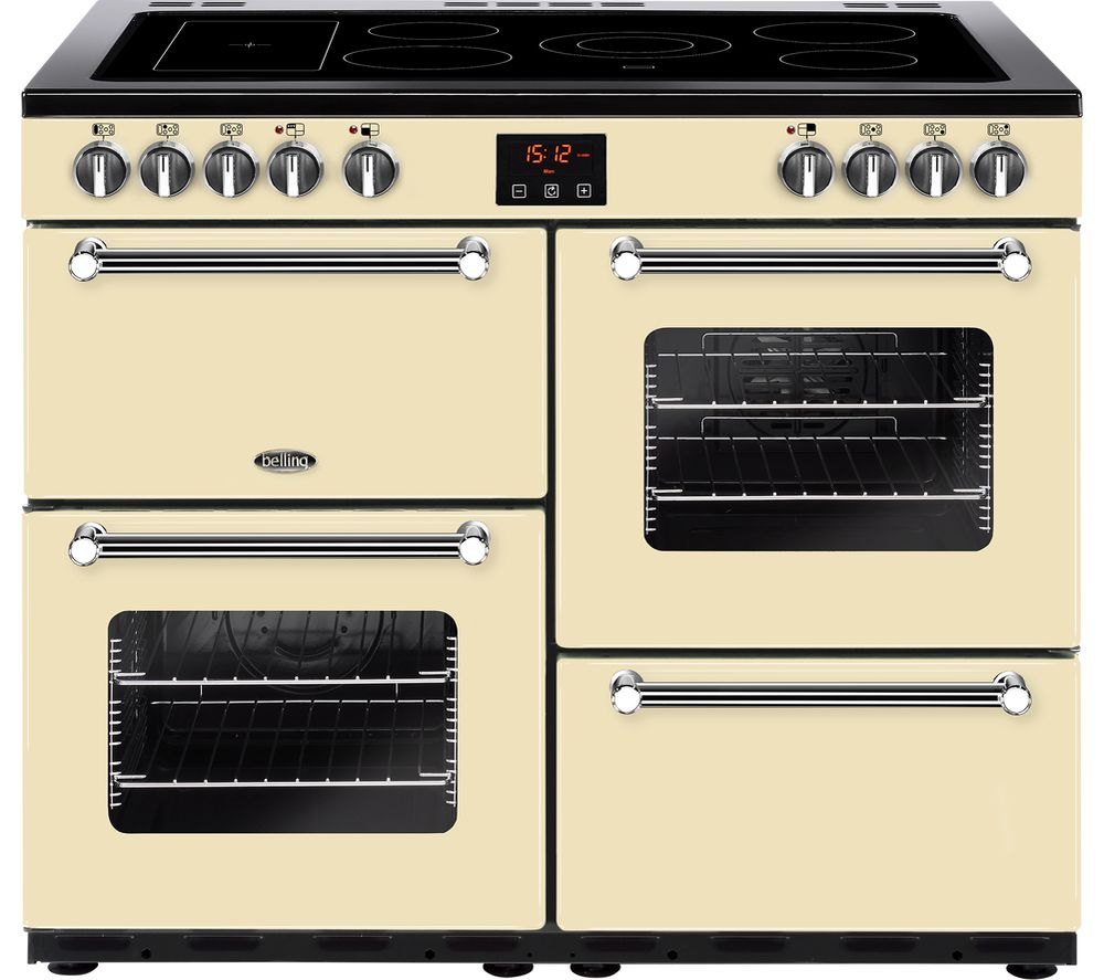 BELLING Kensington 100E Electric Ceramic Range Cooker - Cream & Chrome