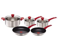 TEFAL H801S514 Jamie Oliver 5-piece Cookware Set - Red