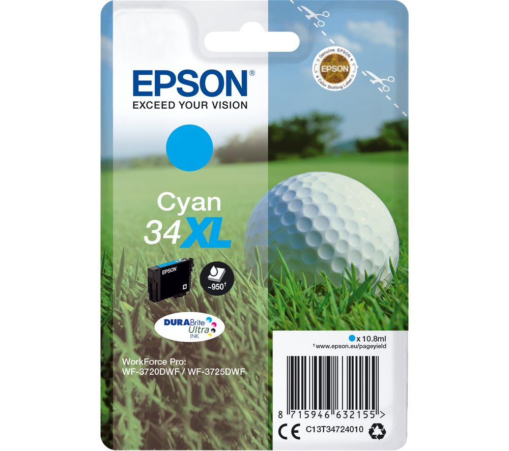 EPSON 34 Golf Ball XL Cyan Ink Cartridge, Cyan