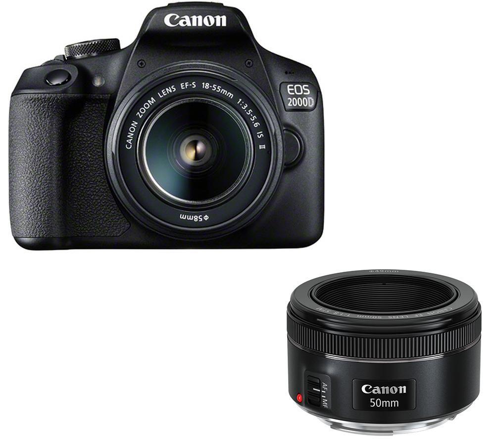 CANON EOS 2000D DSLR Camera, EF-S 18-55 mm f/3.5-5.6 IS II & EF 50 mm f/1.8 STM Standard Prime Lens Bundle
