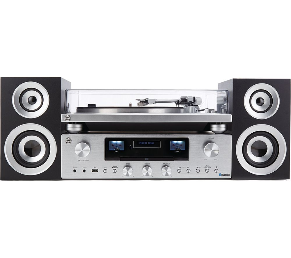 Image of GPO PR100 Turntable with PR200 CD, Amplifier & Speaker System Bundle