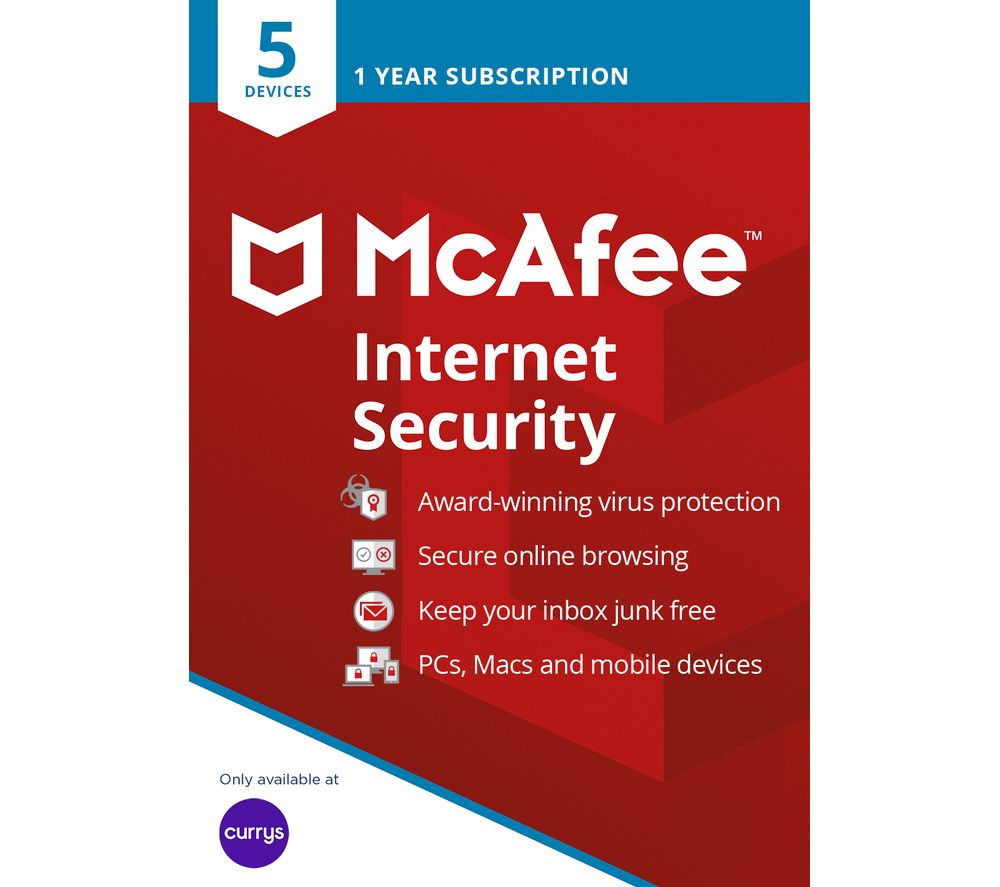 MCAFEE Internet Security 2019 - 1 year for 5 devices