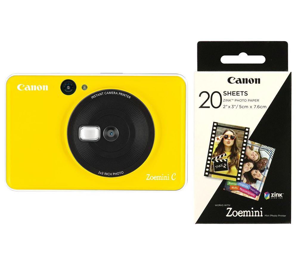 "CANON Zoemini C Instant Camera & Zoemini 2 x 3"" Glossy Photo Paper Bundle - Yellow"