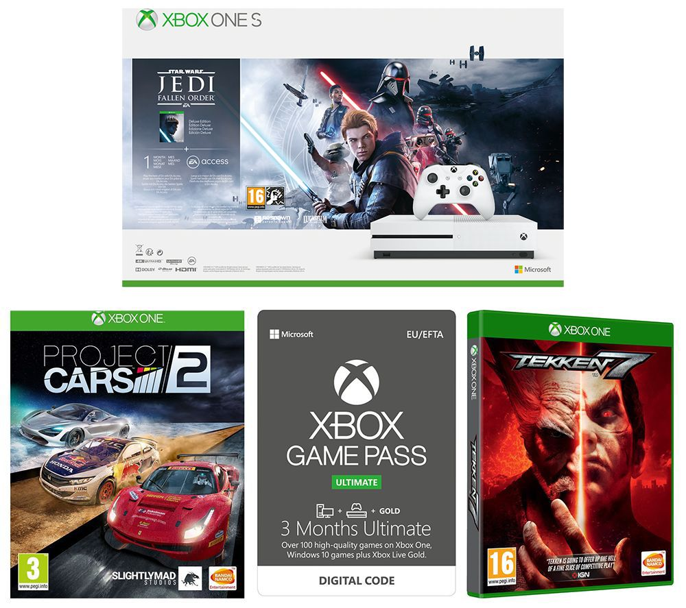 MICROSOFT Xbox One S, Star Wars Jedi: Fallen Order Deluxe Edition, Tekken 7, Projects Cars 2 & Xbox One Game Pass Ultimate Bundle