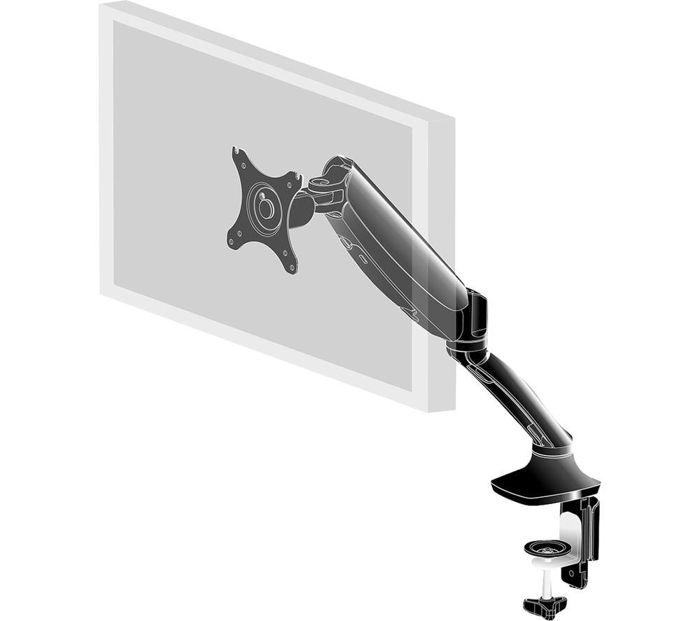 Image of IIYAMA Gas Spring Desk Mount for Desktop Monitors - Black, Black
