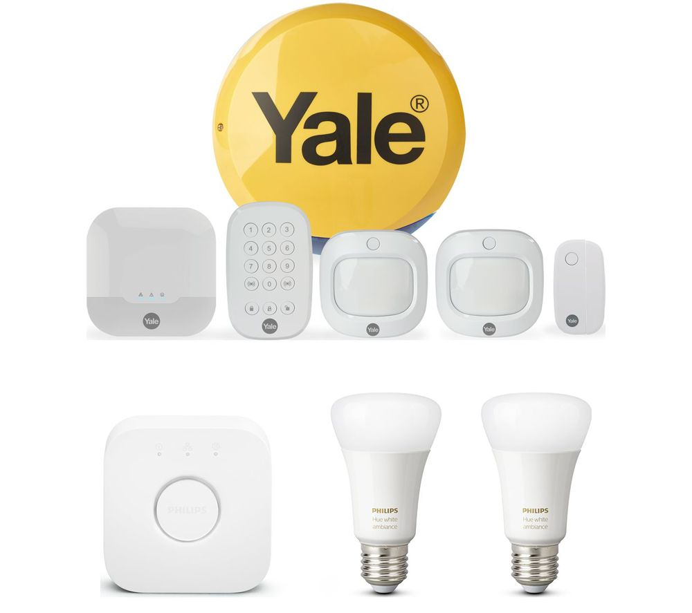 YALE Sync IA-320 Smart Home Alarm Family Kit & Hue E27 White & Colour Ambience Smart Lighting Starter Kit with Bridge