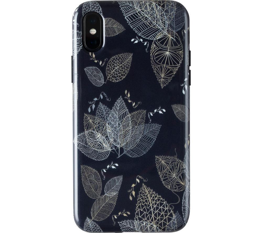WILMA Midnight Shine Leaf Lines iPhone X / XS Case - Black, Black