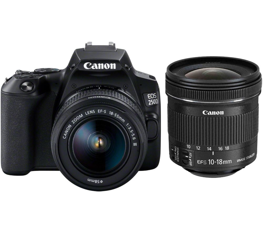 CANON EOS 250D DSLR Camera with EF-S 18-55 mm f/3.5-5.6 III & EF-S 10-18 mm f/4.5-5.6 Lens Bundle